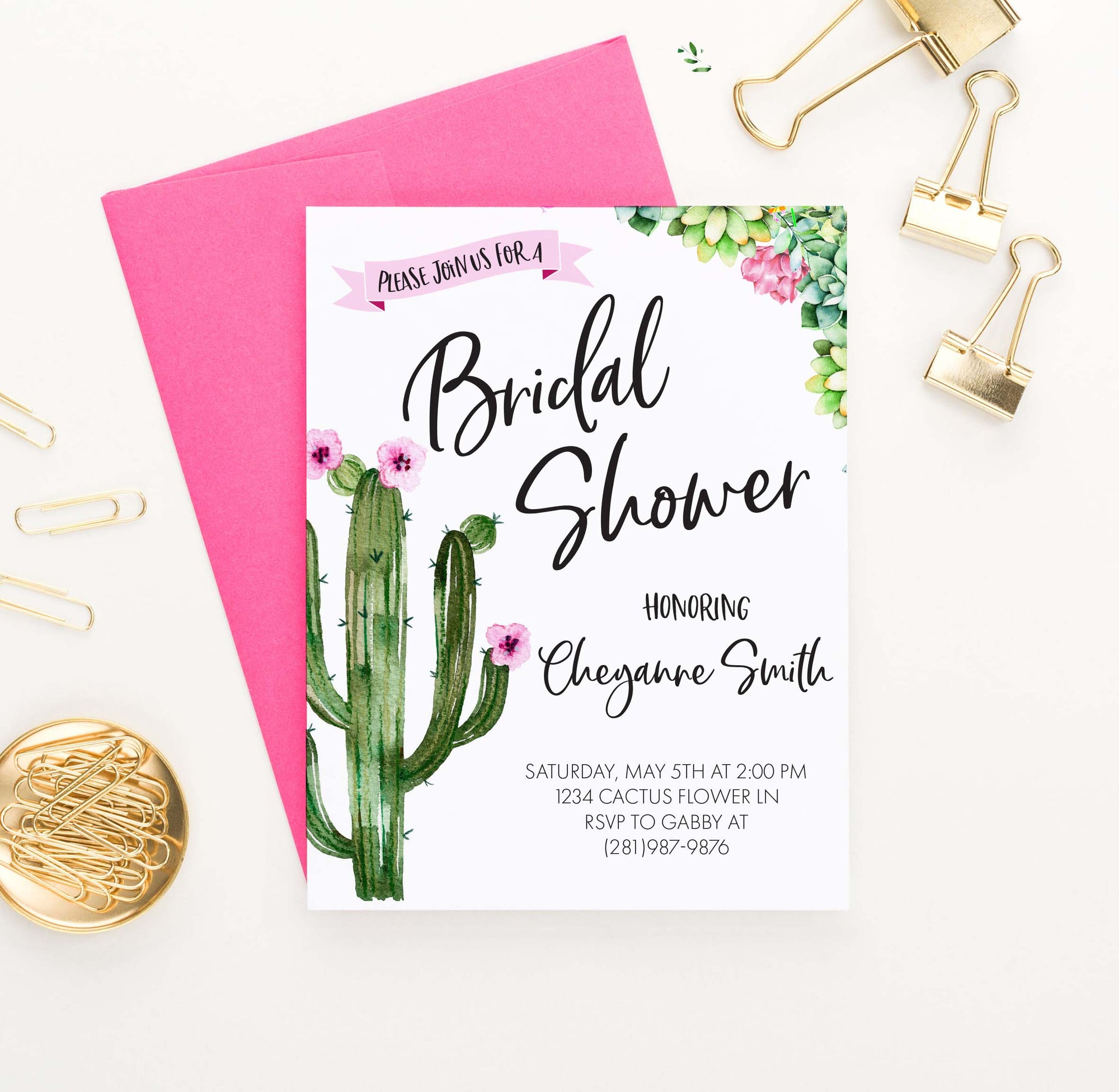 BRSI028 fiesta bridal shower invites with cactus succulents watercolor 1