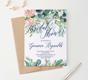 BRSI031 greenery bridal shower invites with blush florals elegant 1