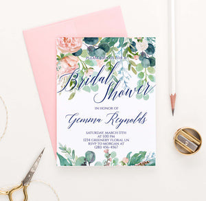 BRSI031 greenery bridal shower invites with blush florals elegant