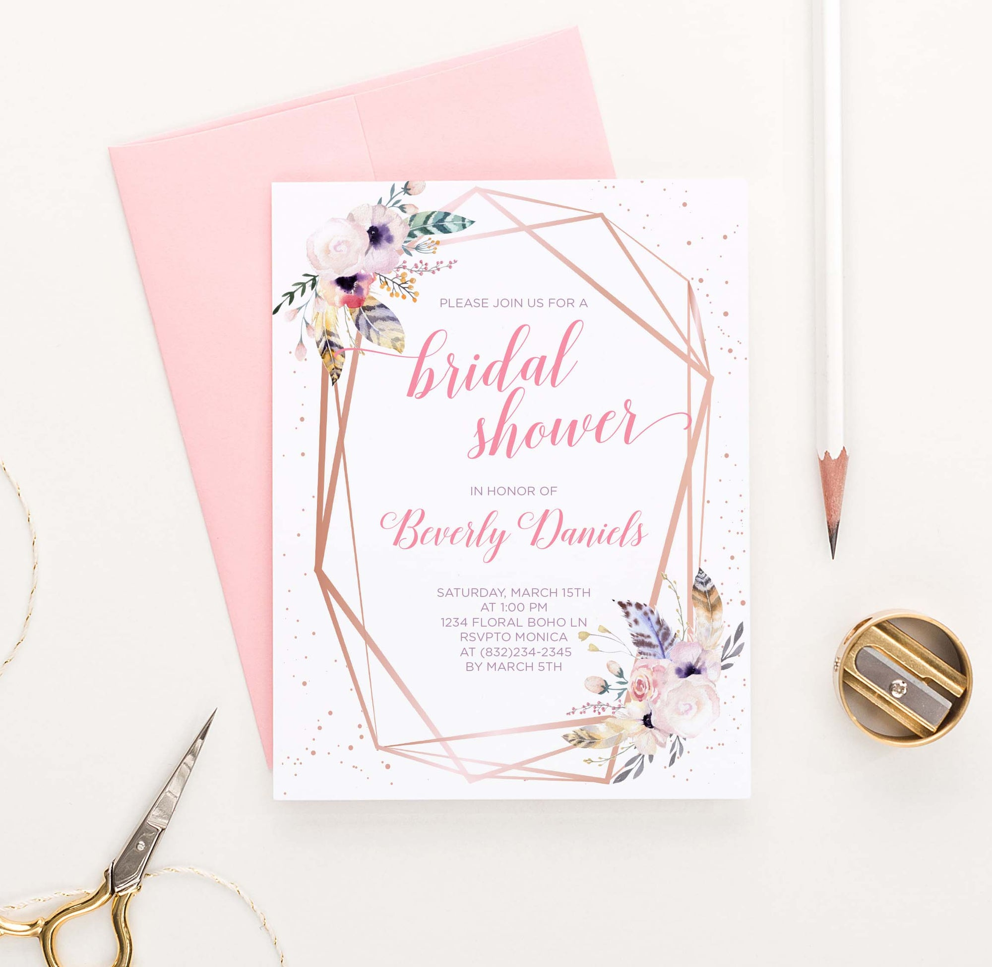 BRSI037 bohemian rose gold bridal shower invites personalized feather florals