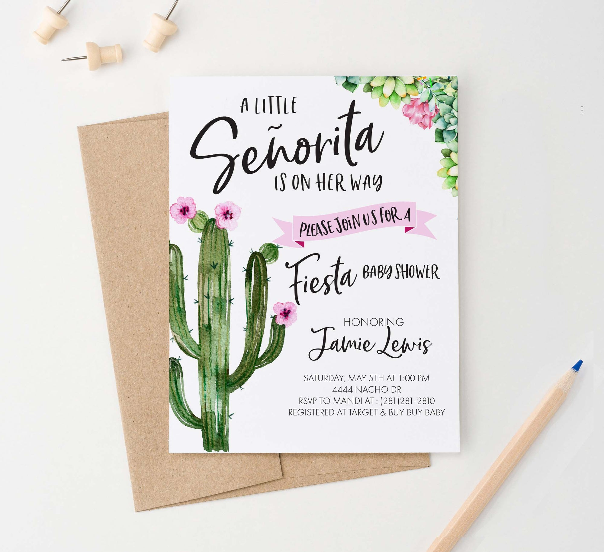 BSI019 fiesta cactus baby shower invitation for girl floral elegant