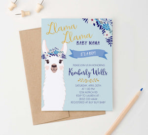 BSI021 personalized llama baby shower invitation for boy momma floral 1