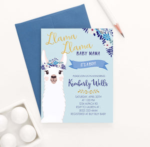 BSI021 personalized llama baby shower invitation for boy momma floral