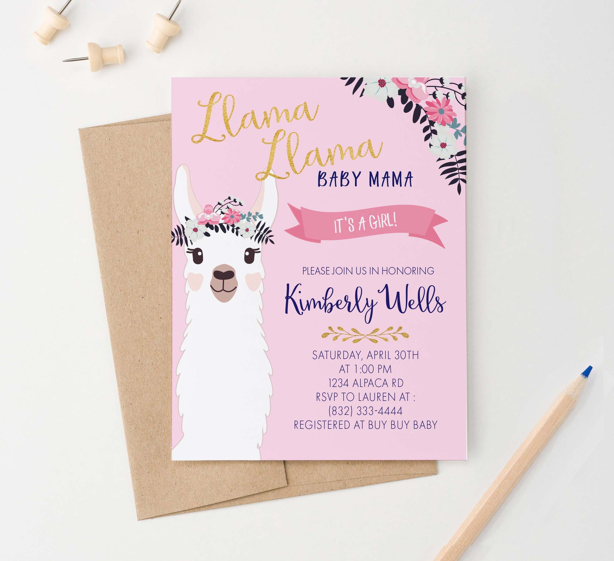 BSI022 llama llama baby shower invitation for girl floral 2