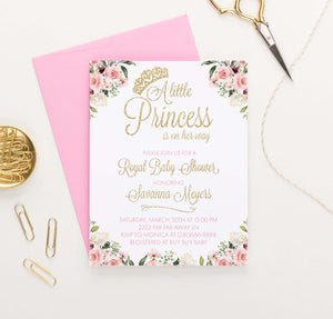 Elegant Floral Princess Baby Shower Invitation with Gold Glitter Crown