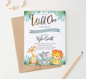 BSI026 wild one baby shower invitation with safari animals giraffe elephant lion