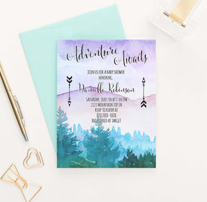 BSI043 watercolor adventure awaits baby shower invite personalized 1