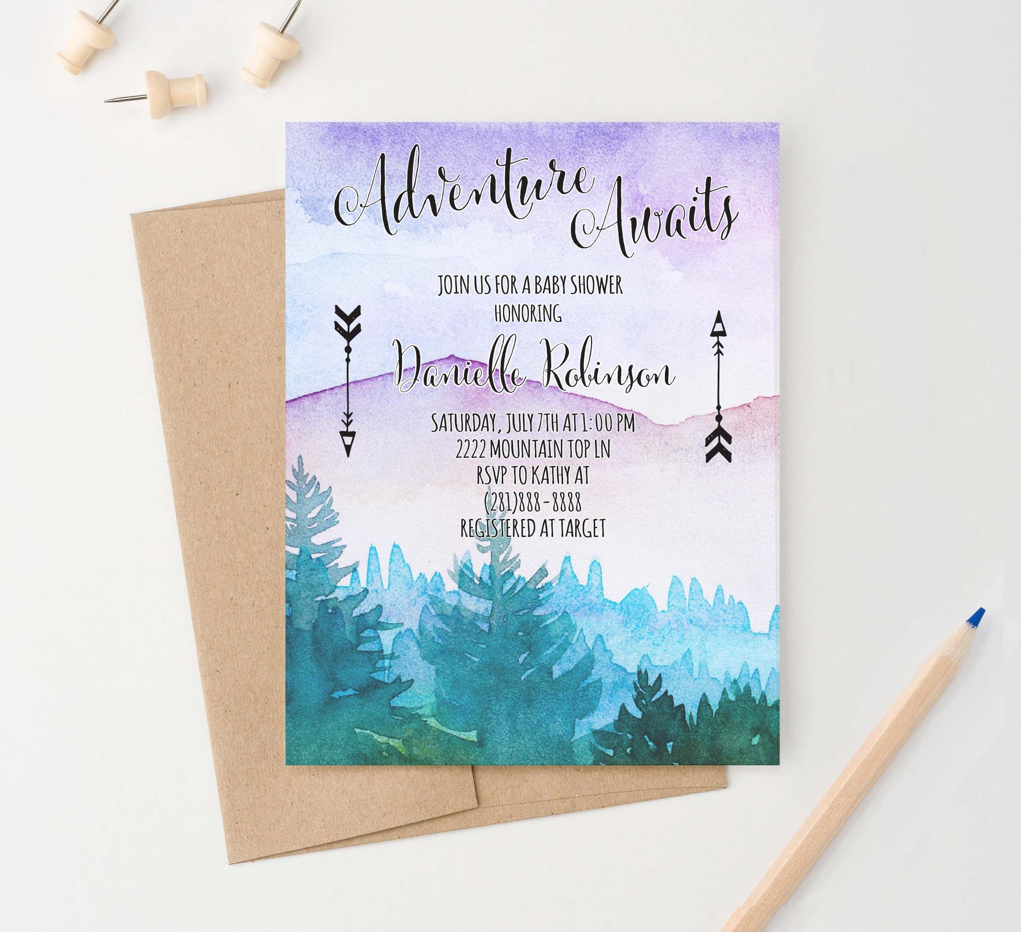 BSI043 watercolor adventure awaits baby shower invite personalized