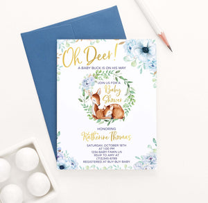 BSI048 elegant blue floral baby shower invitation with deer florals 1