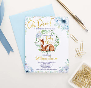 BSI048 elegant blue floral baby shower invitation with deer florals