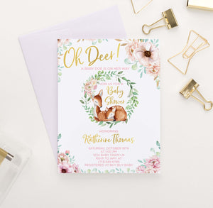 BSI049 pink elegant floral baby shower invites with deer modern florals 1