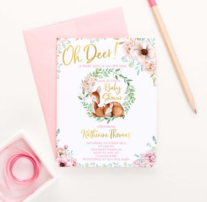 BSI049 pink elegant floral baby shower invites with deer modern florals