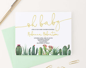 BSI080 oh baby baby shower invitation with bottom cactus fiesta succulents elegant 1