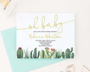 BSI080 oh baby baby shower invitation with bottom cactus fiesta succulents elegant 2