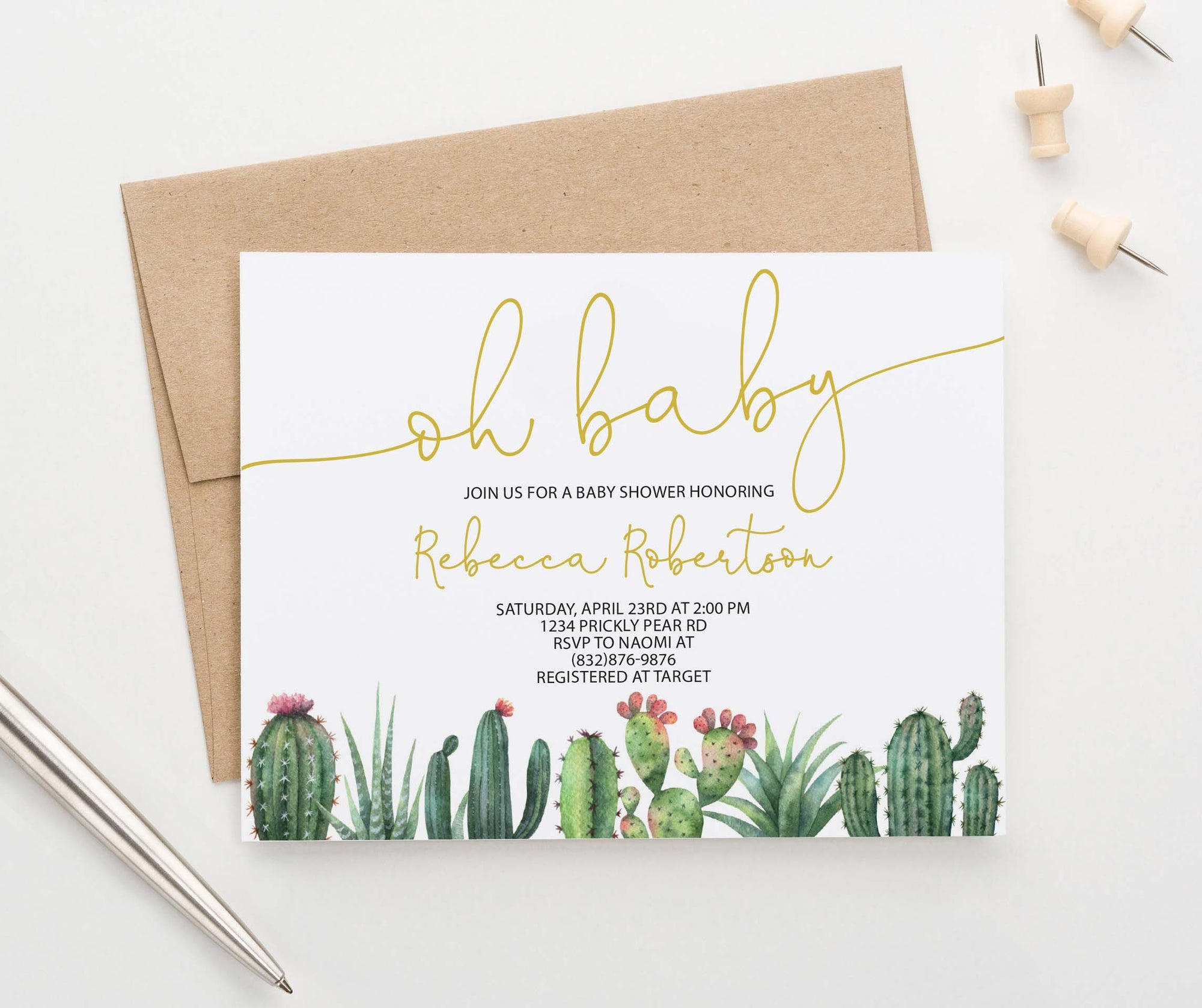 BSI080 oh baby baby shower invitation with bottom cactus fiesta succulents elegant
