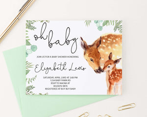 BSI081 watercolor deer baby shower invites personalized greenery 1