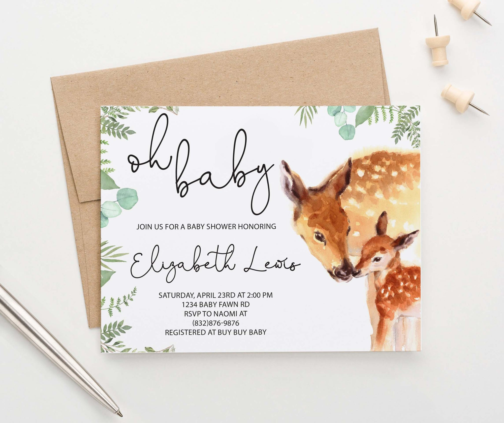 BSI081 watercolor deer baby shower invites personalized greenery