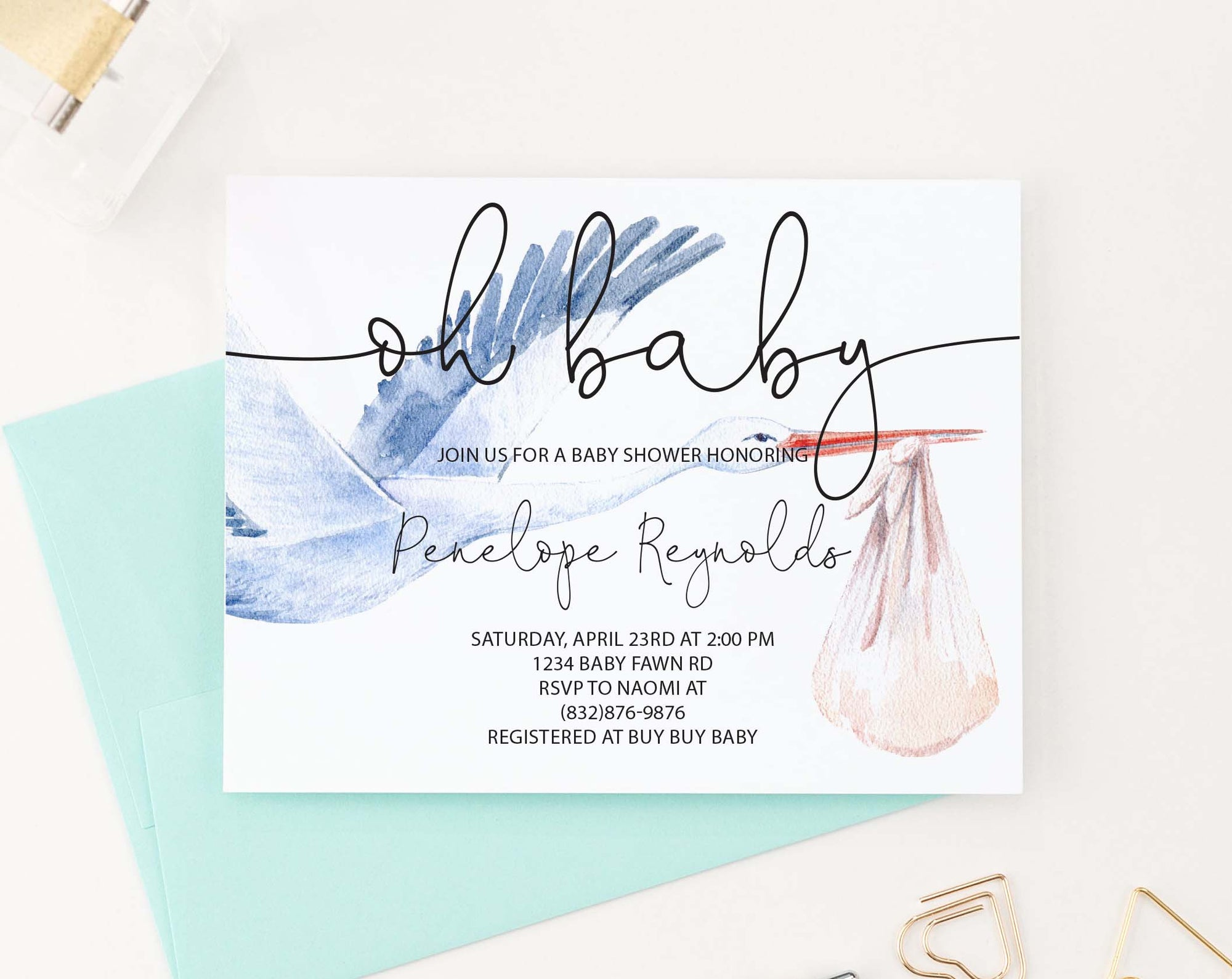 BSI084 personalized baby shower invitation with watercolor stork modern