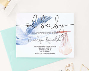BSI084 personalized baby shower invitation with watercolor stork modern 1