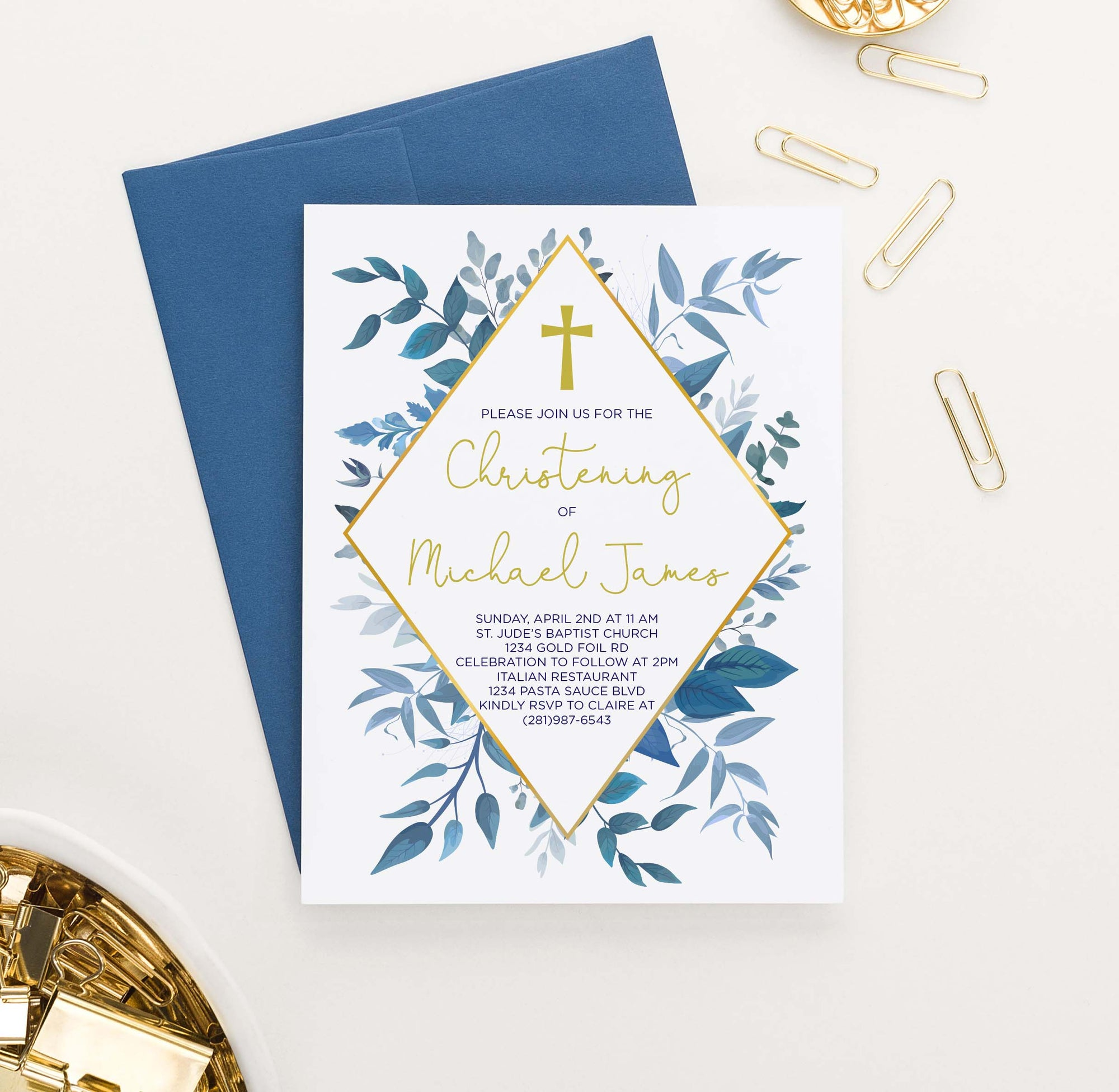 CI005 elegant blue greenery christening invites personalized gold cross boy