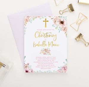 CI010 personalized pink floral christening invites for girls gold cross elegant 1