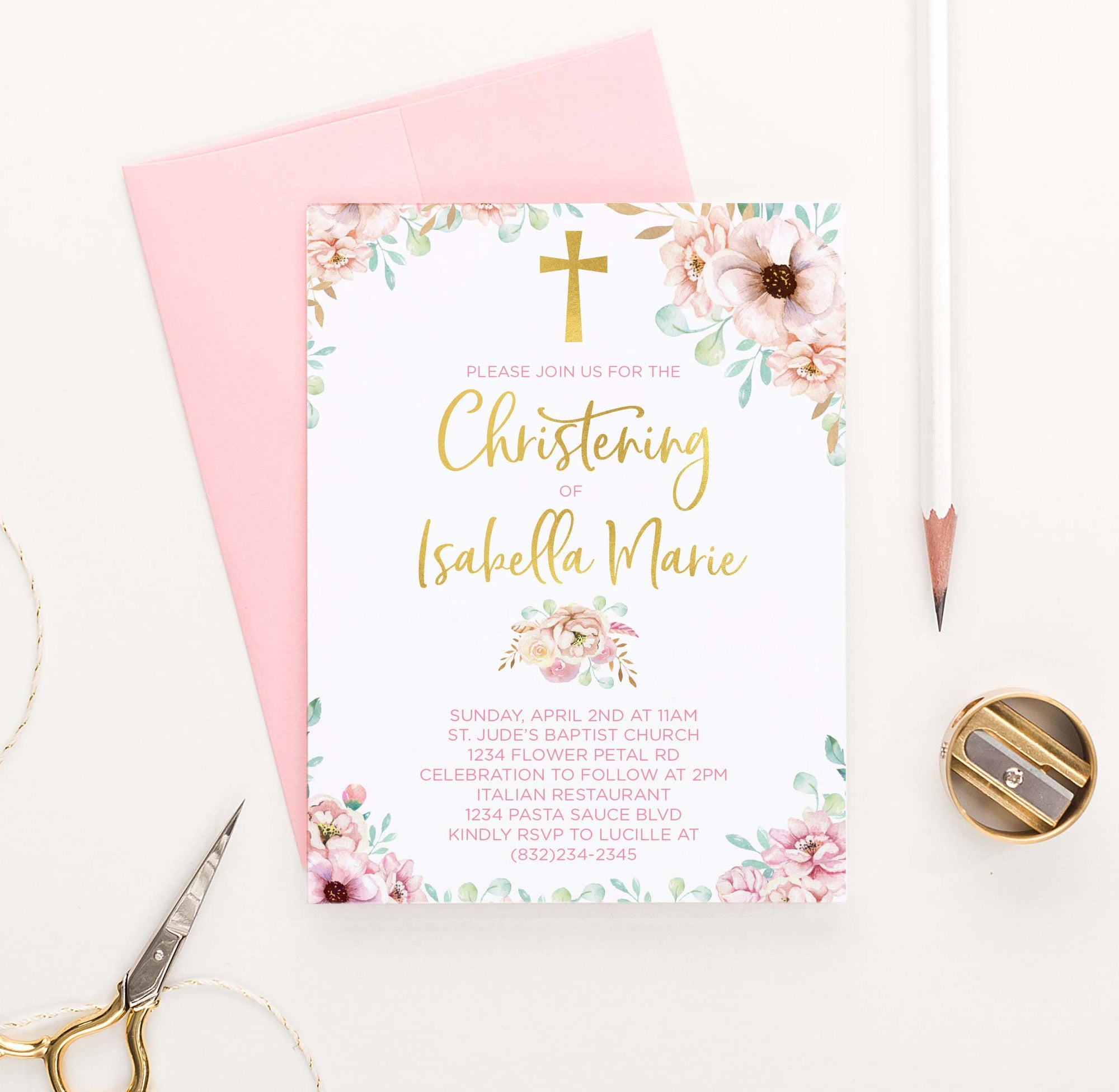 CI010 personalized pink floral christening invites for girls gold cross elegant