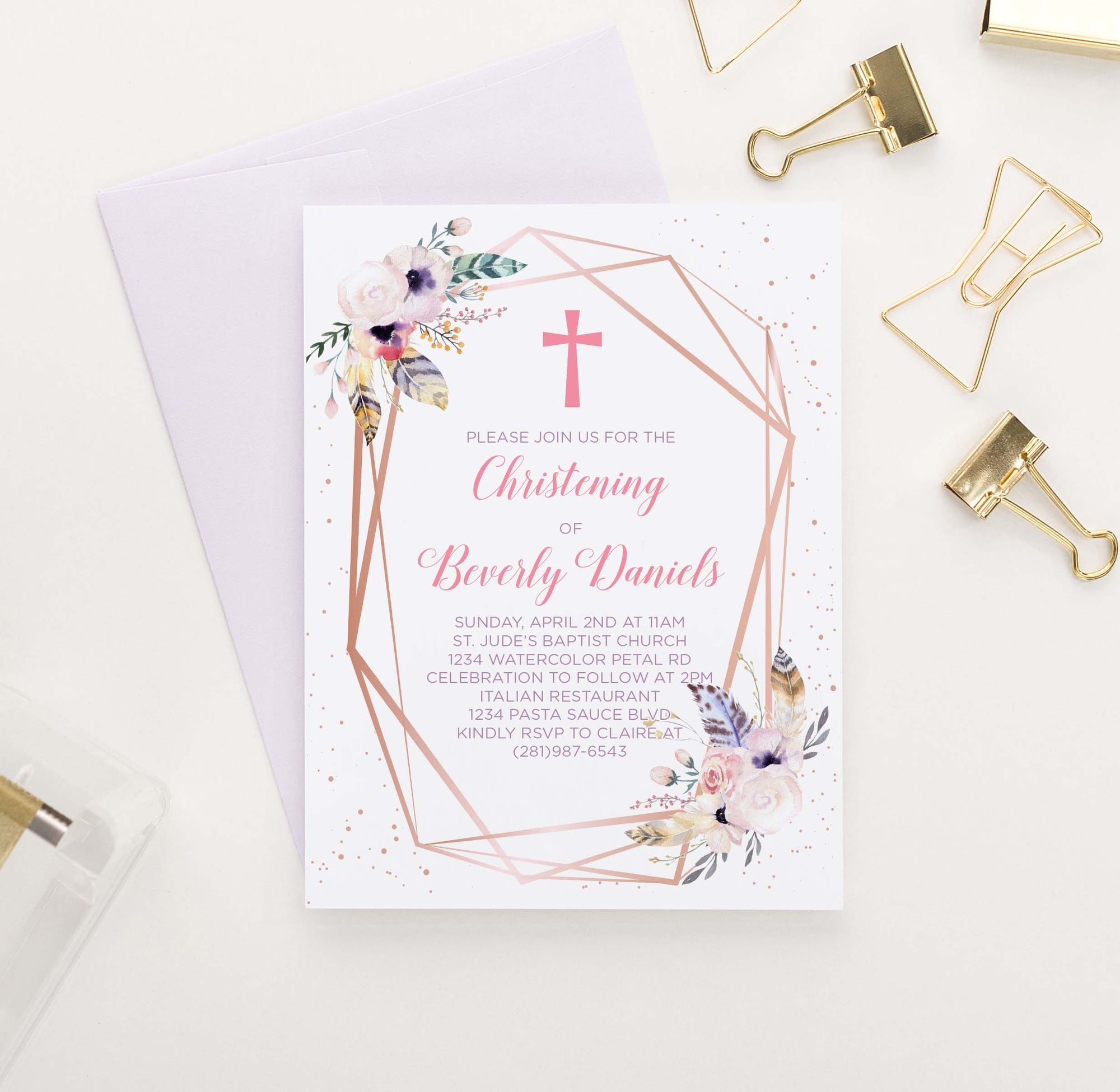 CI011 bohemian rose gold christening invitation personalized rustic feather floral