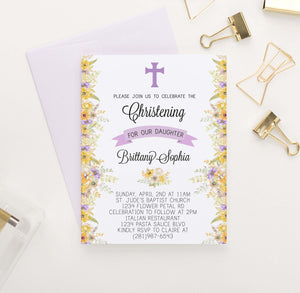 CI014 personalized christening invites with yellow and purple florals elegant 1
