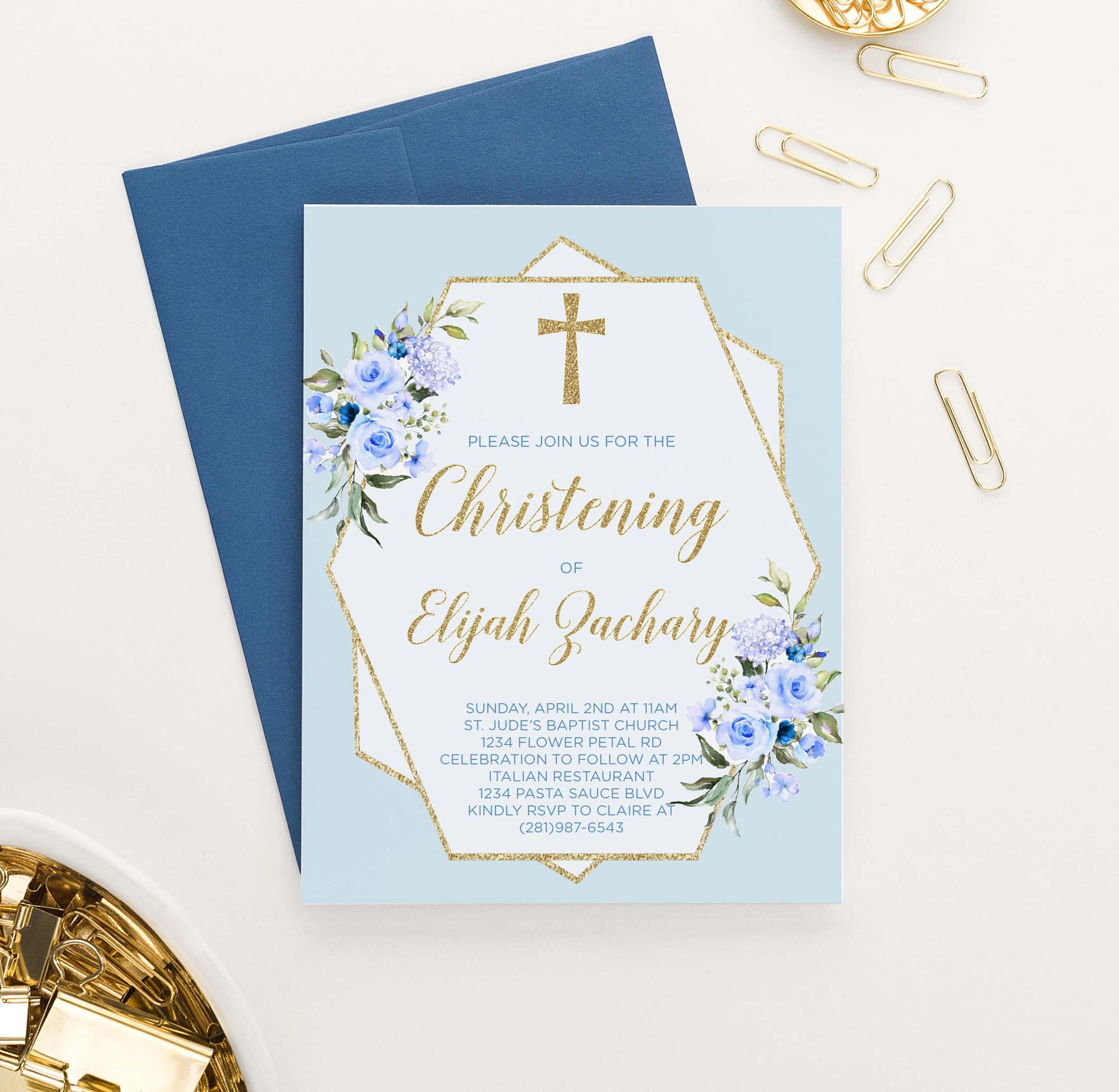 CI018 blueand gold christening invites for boys florals flowers glitter