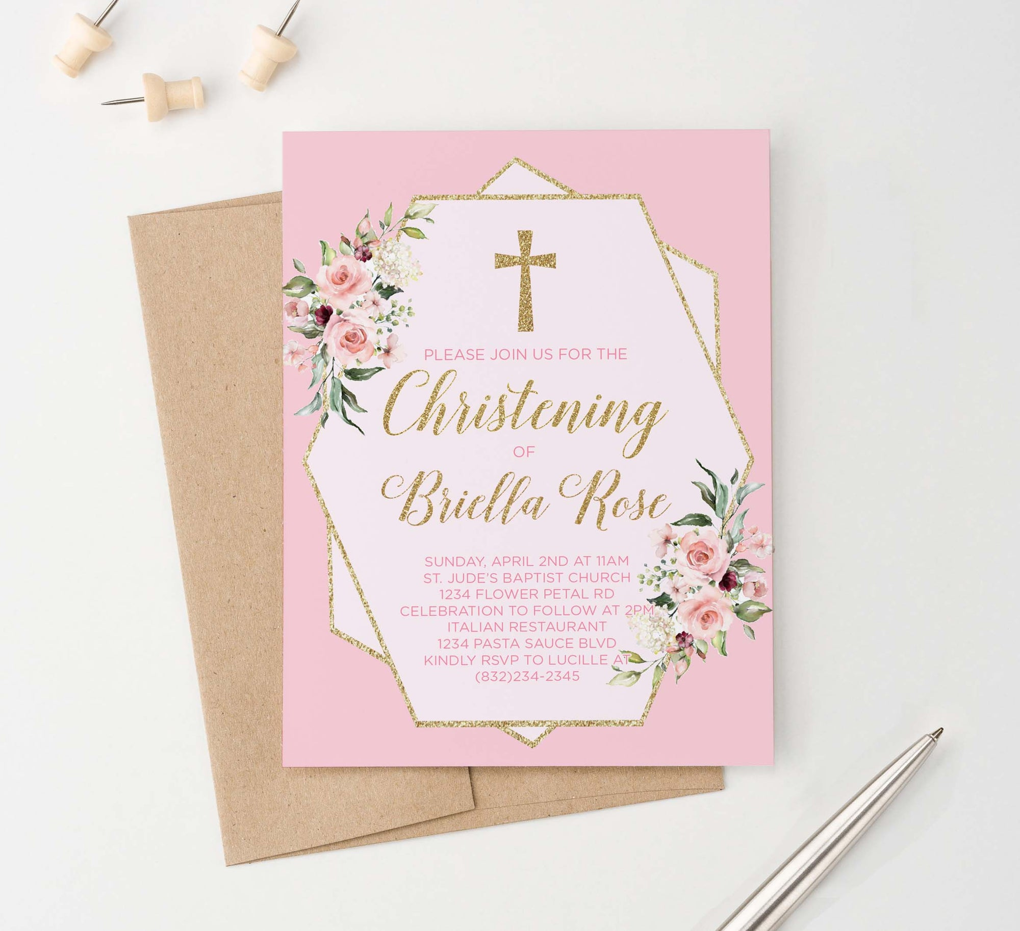 CI019 pink and gold christening invite with florals girls elegant glitter 1