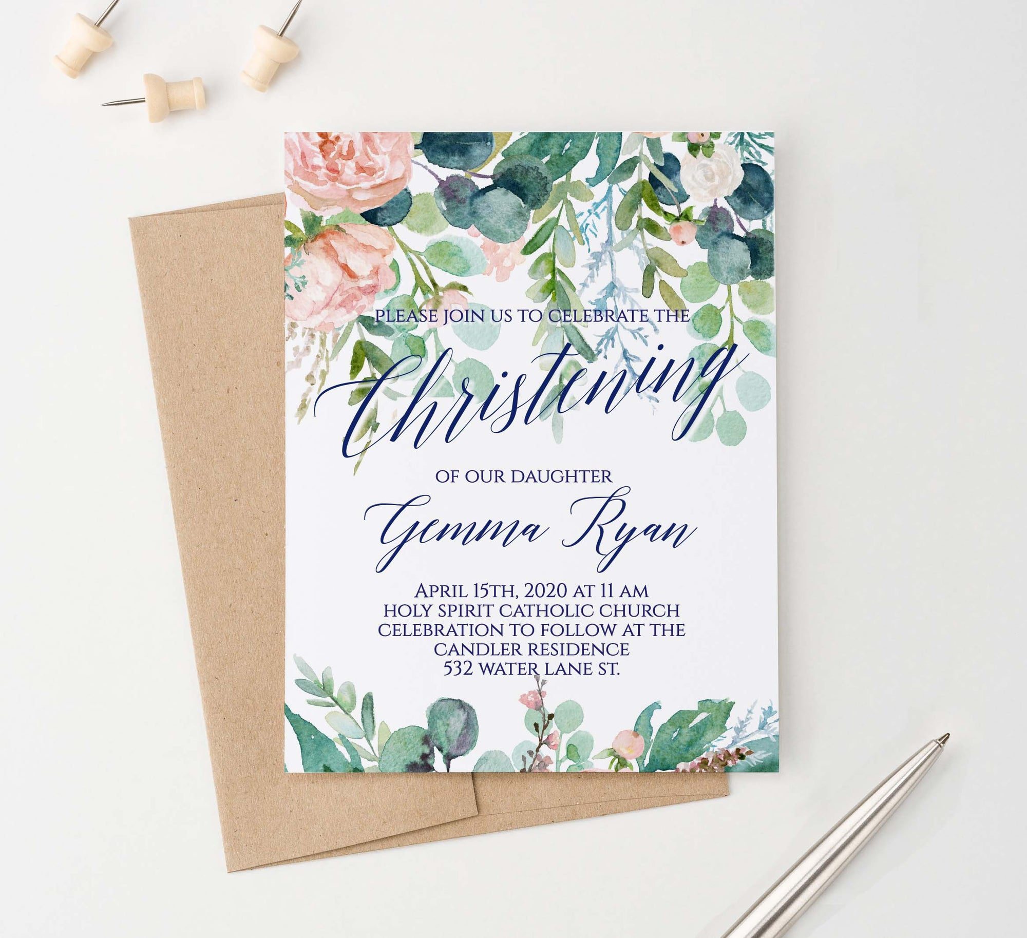 CI020 greenery christening invites with blush florals elegant watercolor 1