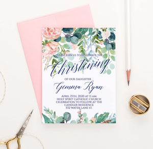 CI020 greenery christening invites with blush florals elegant watercolor