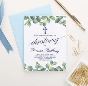 CI021 personalized greenery christening invite set leaves elegant