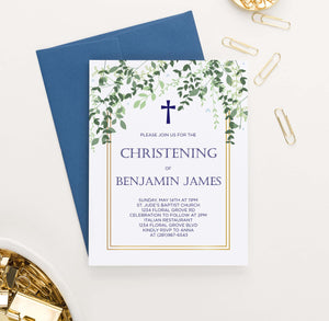 CI023 elegant greenery christening invitation with gold border vines leaves 1