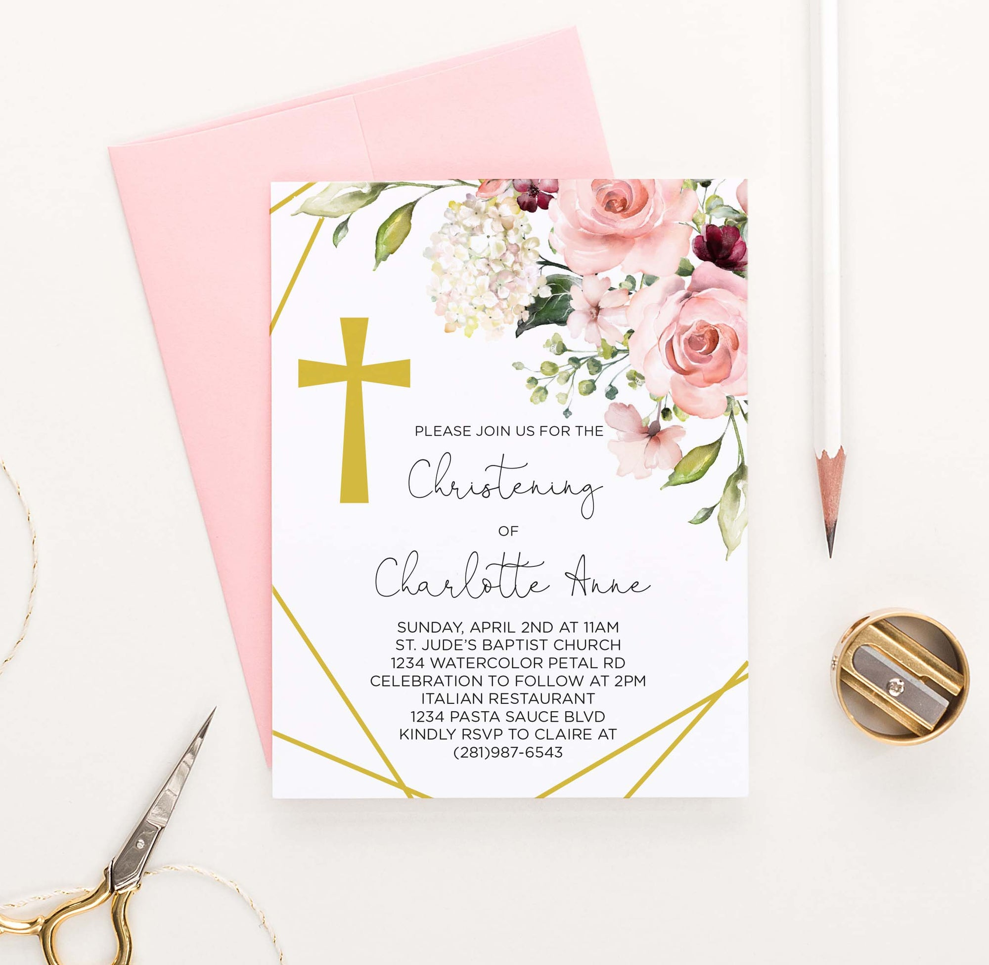CI029 floral corner christening invites with gold cross florals flower 1