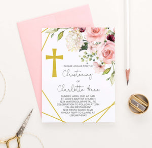 CI029 floral corner christening invites with gold cross florals flower