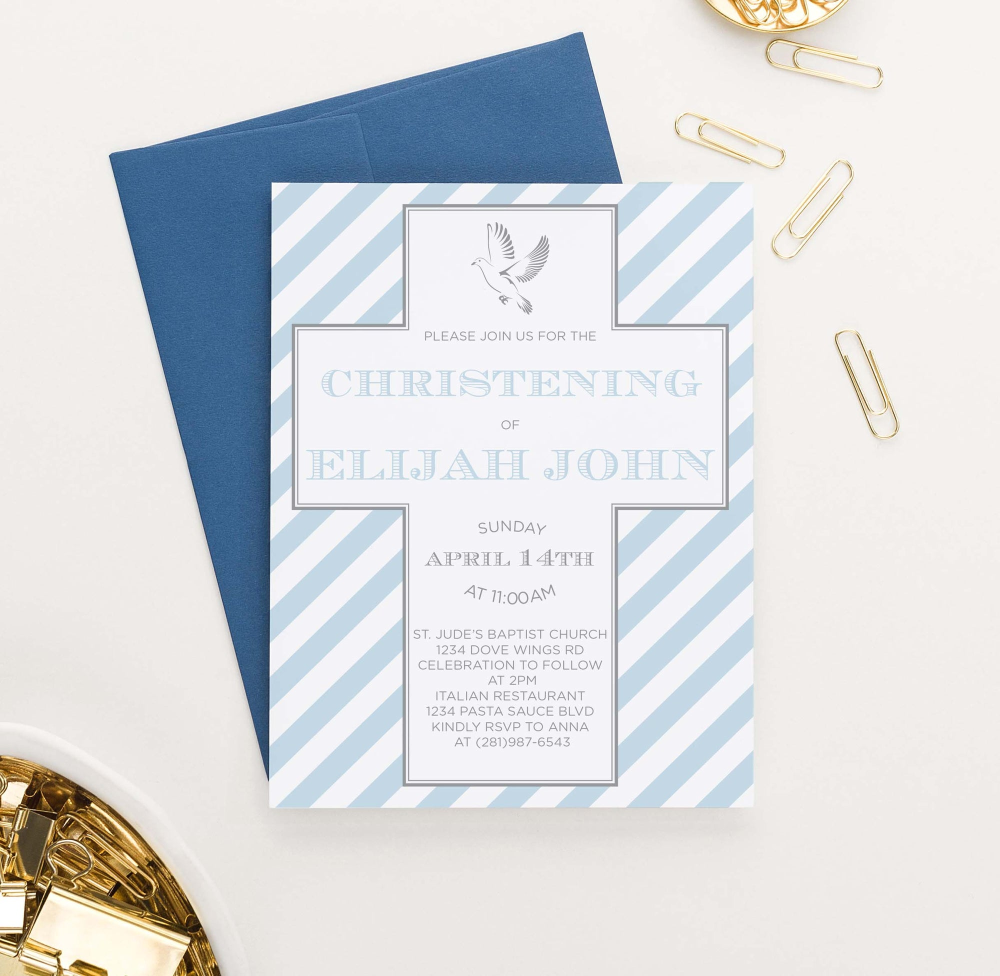 CI036 blue striped christening invites with cross dove boy 1