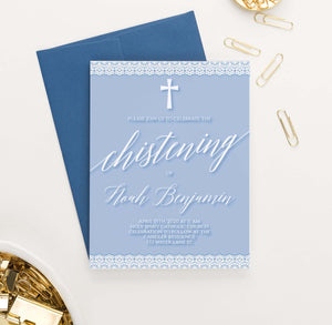 CI041 personalized boys blue christening invitation with lace simple modern 1