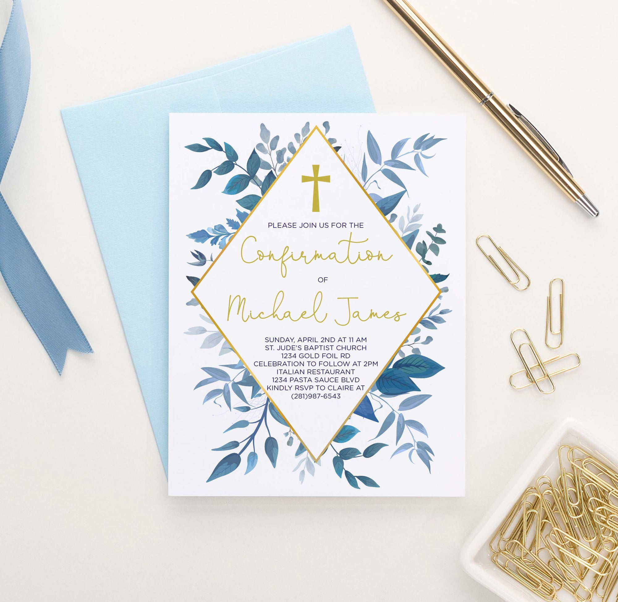 CONI005 elegant blue greenery confirmation invites personalized gold cross 1
