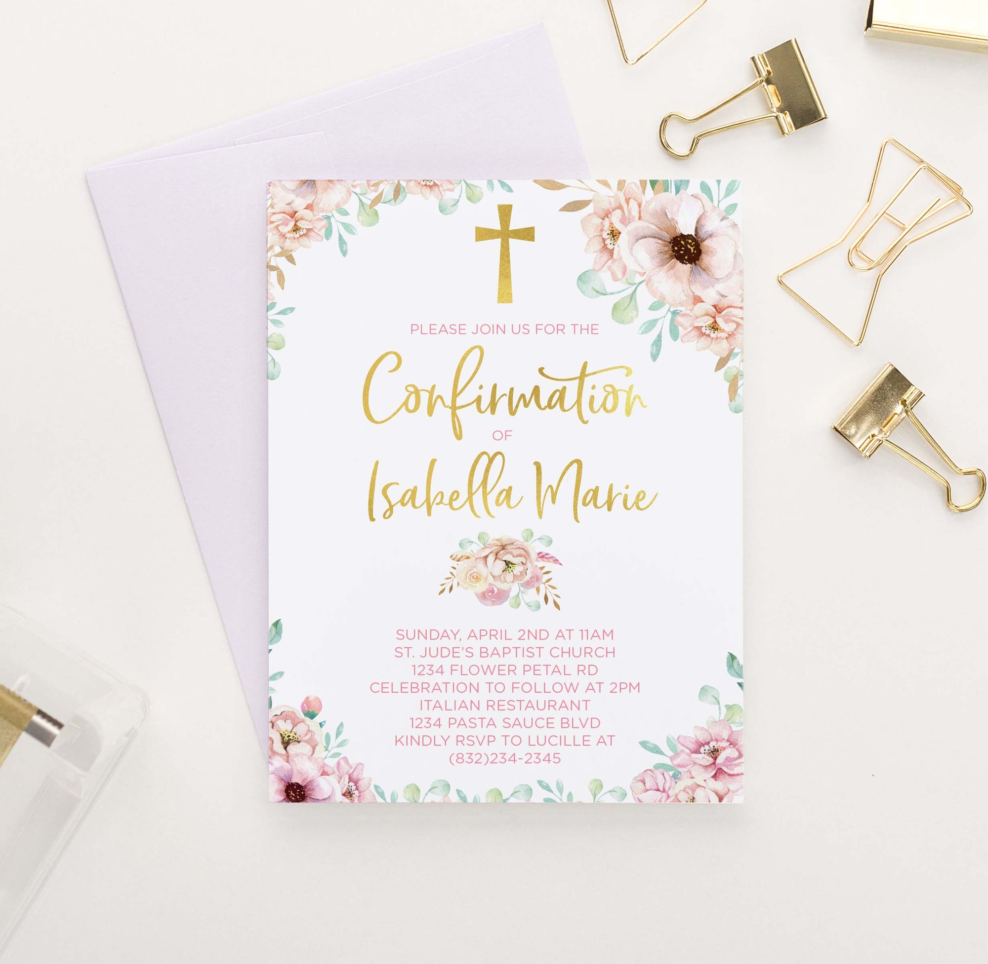 CONI010 girls elegant pink floral confirmation invites personalized elegant gold cross