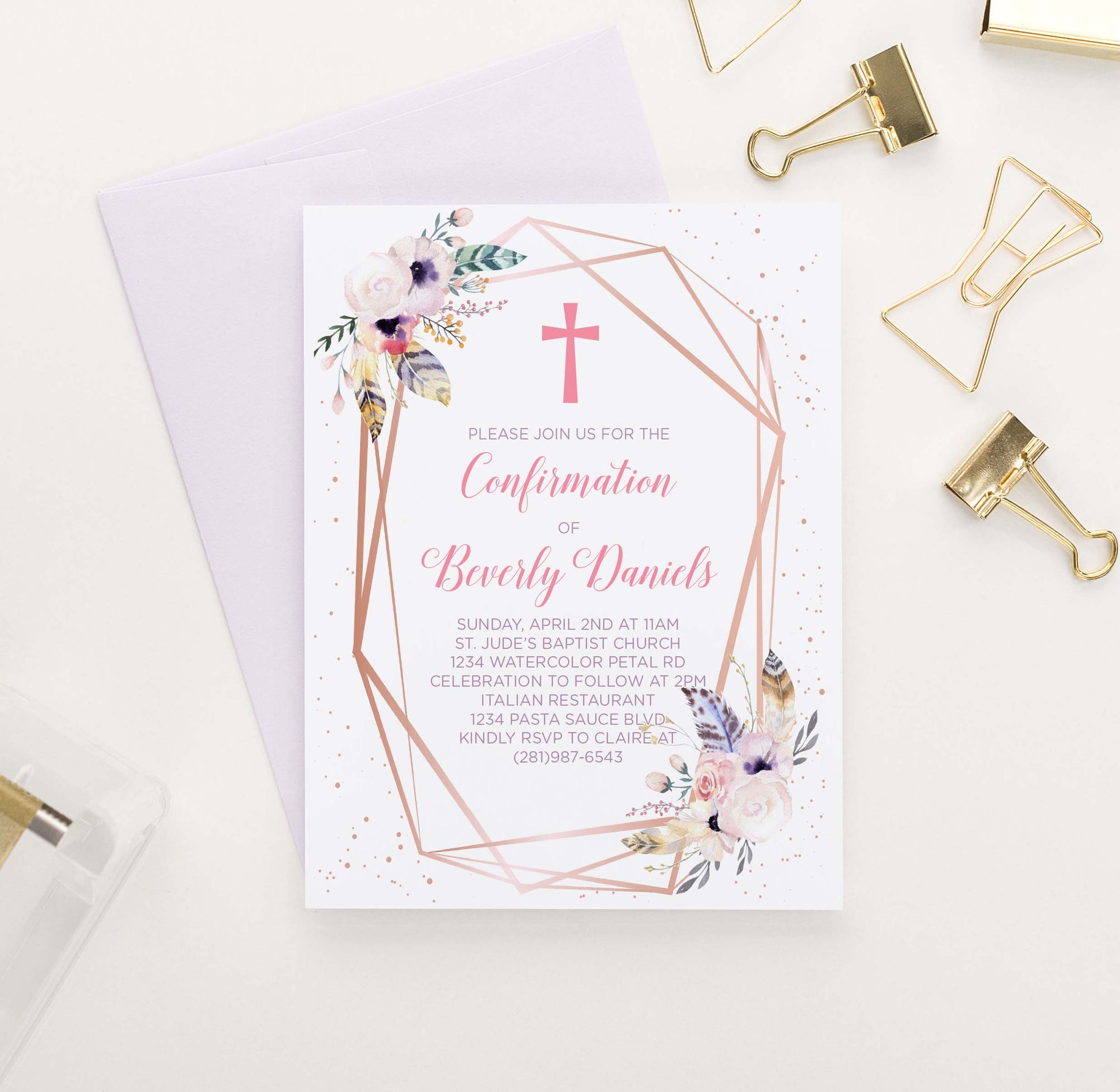 CONI011 rose gold bohemian floral confirmation invites personalized rustic