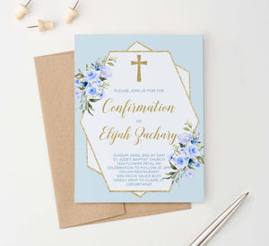 CONI018 elegant blue and gold confirmation invites for boys glitter geometric