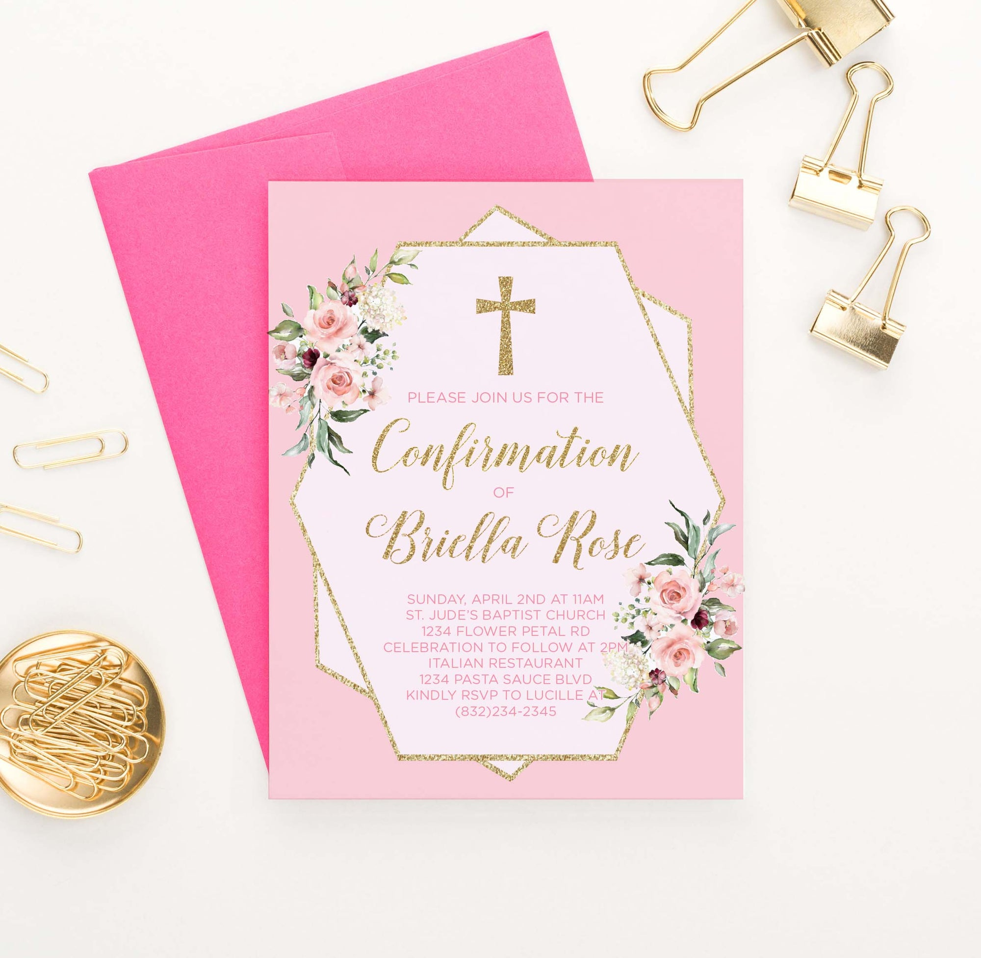 CONI019 elegant pink and gold confirmation invites for girls florals flowers glitter 1