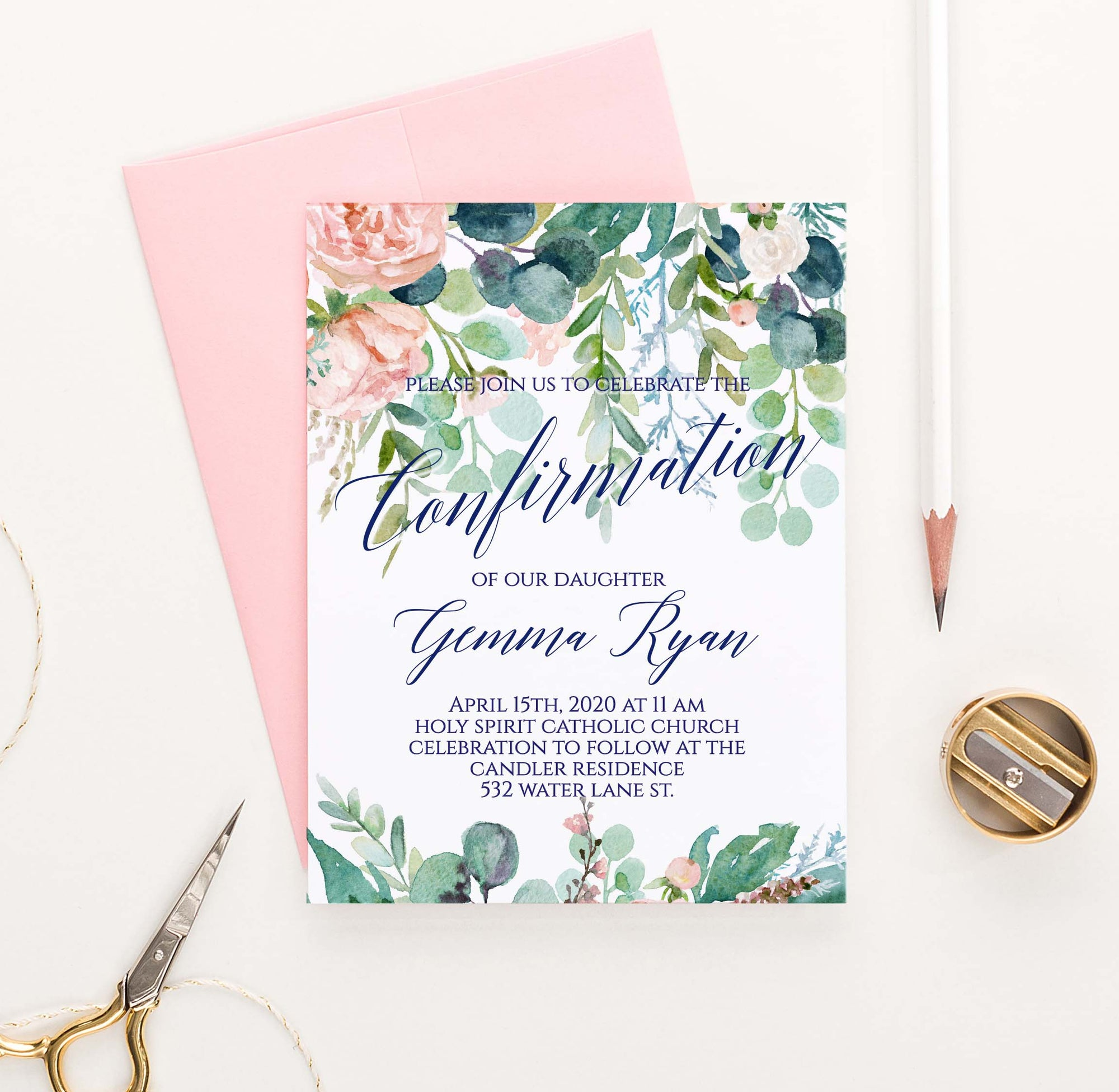 CONI020 elegant greenery and blush florals confirmation invite set flower 1