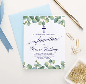 CONI021 personalized greenery confirmation invitations with cross navy elegant