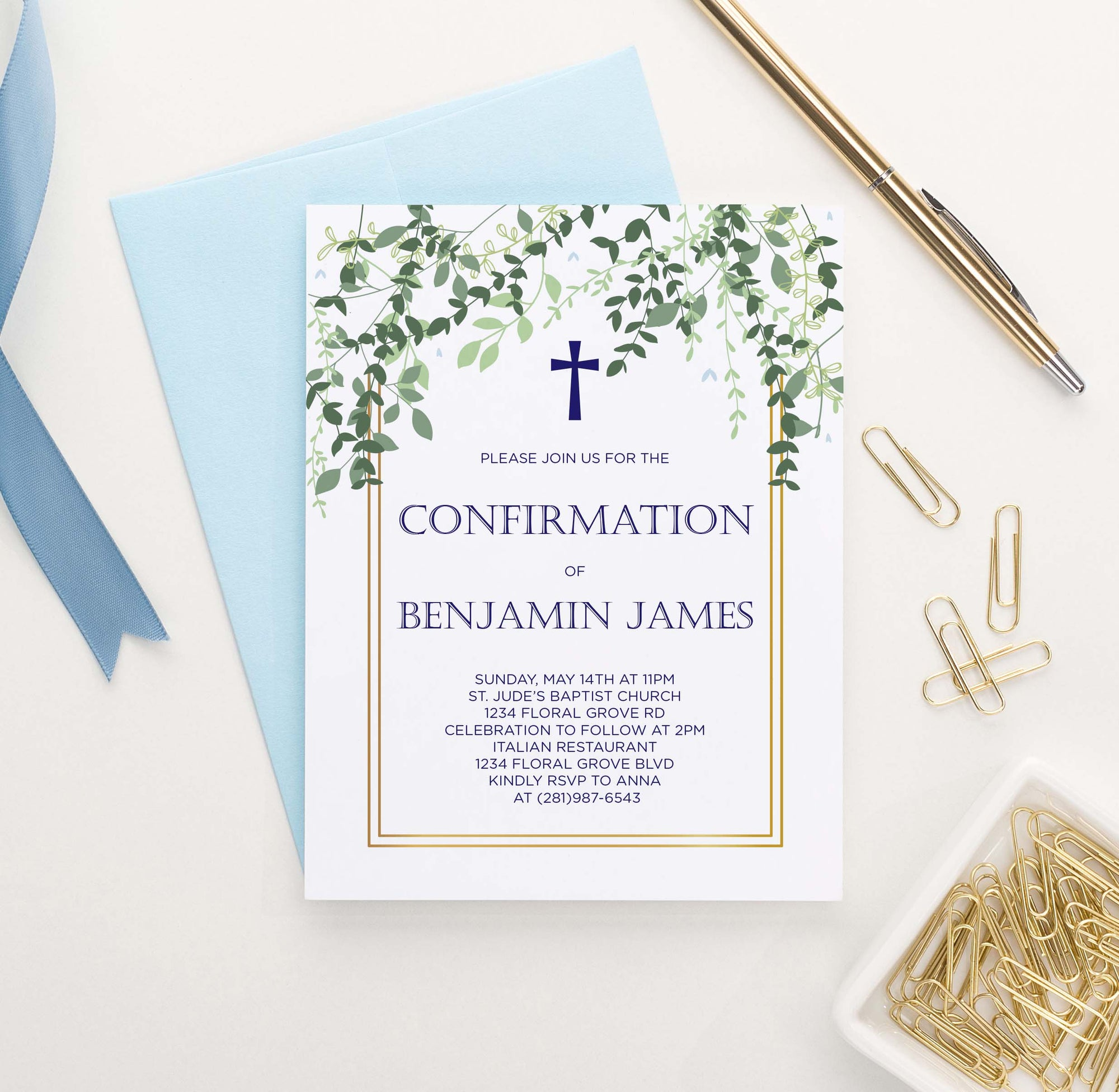 CONI023 elegant gold frame with greenery confirmation invite personalized vines leaves 1