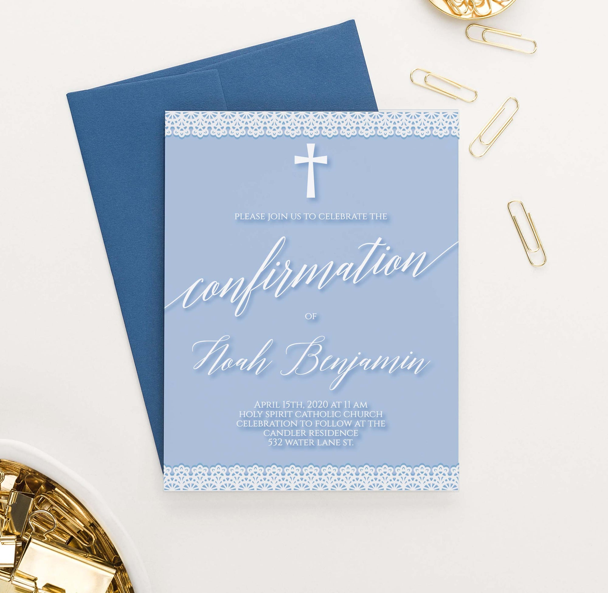 CONI041 modern blue confirmation invites with lace for boys simple cross 1