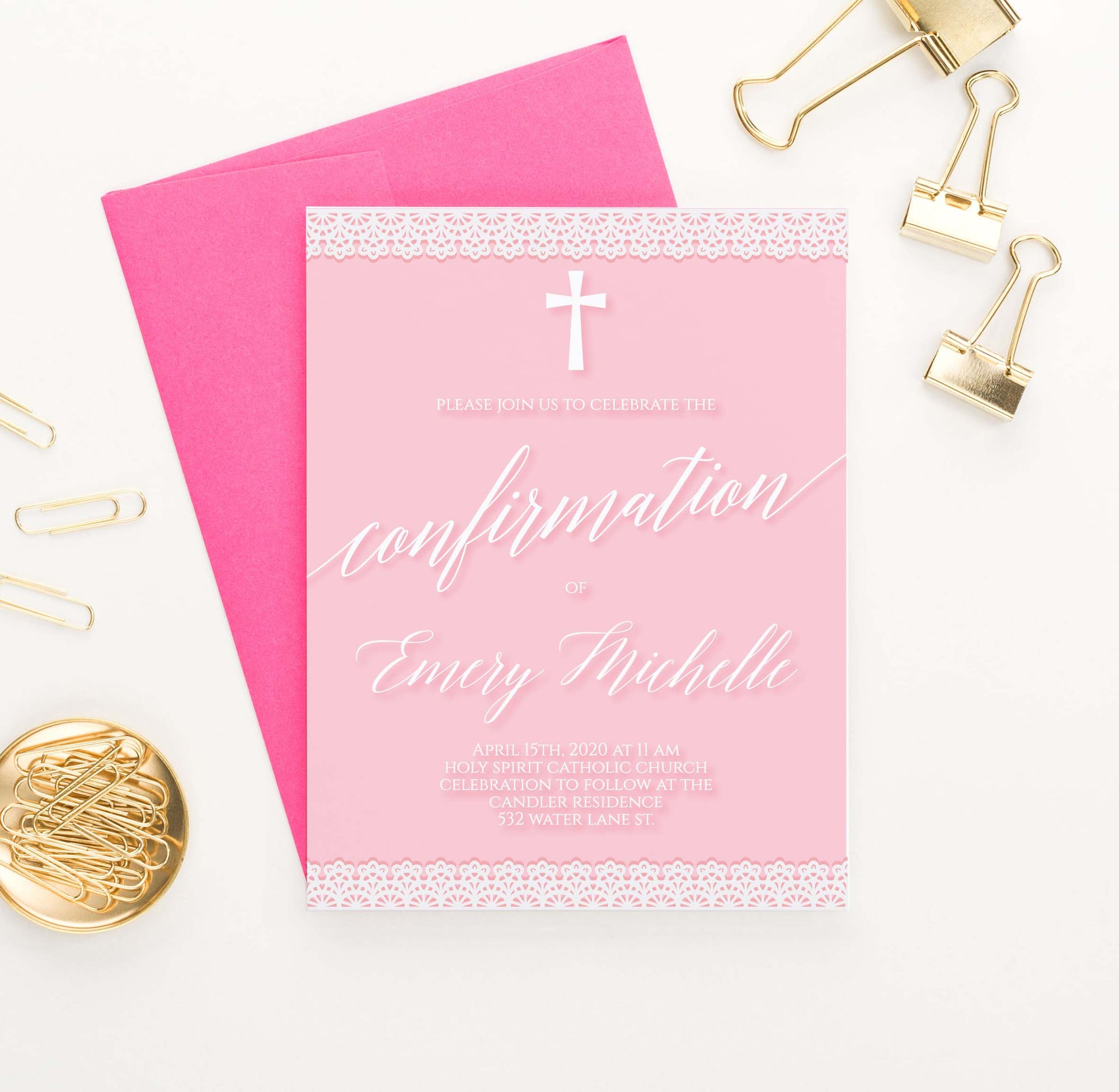 CONI042 girls modern pink confirmation invitations with lace cross simple