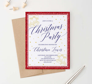 CPI002 red and gold personalized holiday party invitations glitter elegant 2