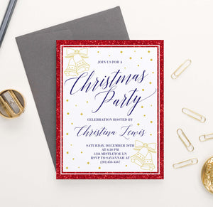 CPI002 red and gold personalized holiday party invitations glitter elegant 3